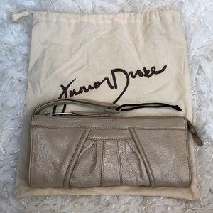 Junior Drake Cream Sparkle Leather Wristlet